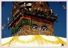Route vers le Kathmandou Népal, temple Swayambhunath